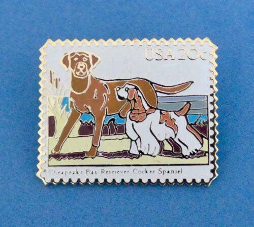 VTG WINCO CHESAPEAKE BAY RETREIVER COCKER SPANIEL DOG USPS METAL STAMP PIN