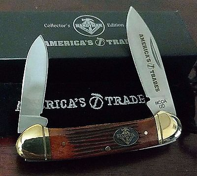 BURNT ORANGE BONE CANOE HUNTING POCKET KNIFE W/ CASE CLUB KNIFE !!!