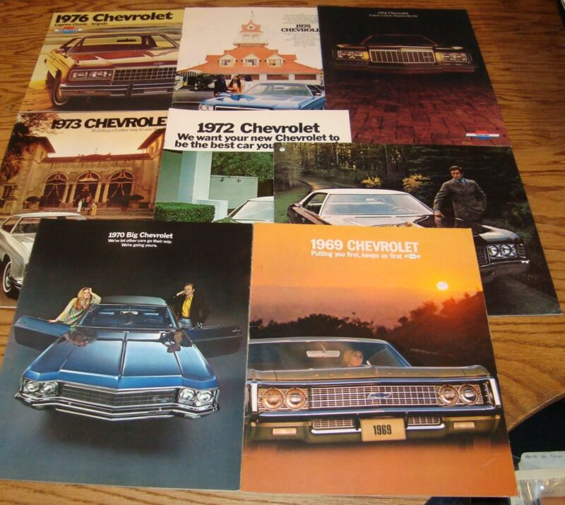 1969-1976 Chevrolet Full Size Sales Brochure Lot of 8 Chevy 70 71 72 73 74 75