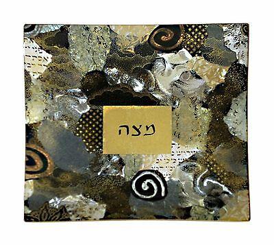 (Artistic, Passover, Decorative, Square Glass Matzah Plate,From USA,By Piatti