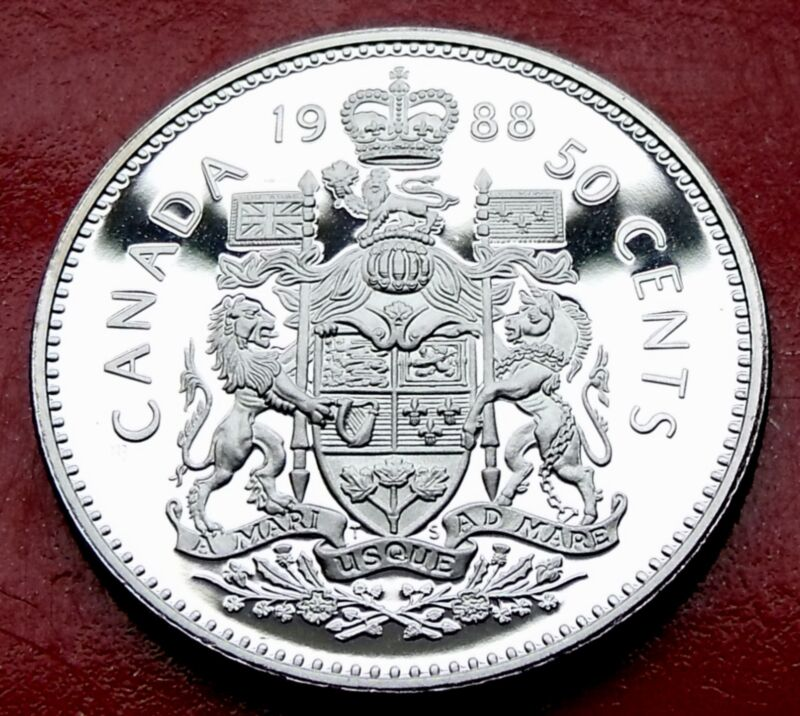 Rare FROSTED 1988 SHARP PROOF CANADA 50 cents  Beautiful High Grade Specimen!