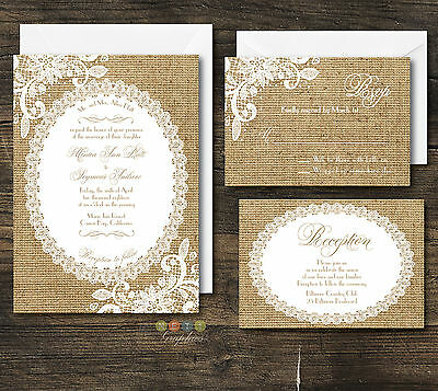 100 Personalized Rustic Burlap & Lace Wedding Invitation Suite With Envelopes