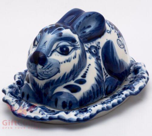 Gzhel Porcelain server plate or butter dish holder Rabbit Hand-painted Маслёнка