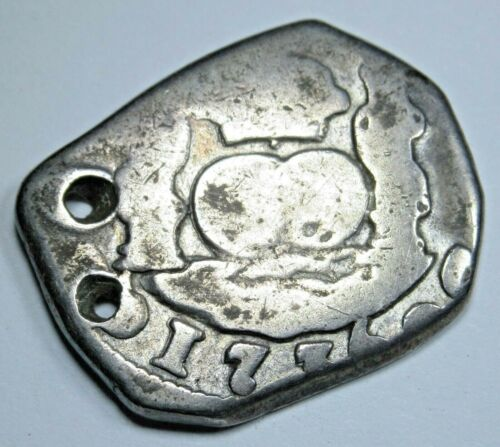 1736 Guatemala 2 Reales Cob Piece of 8 Real Old Colonial Pirate Treasure Coin
