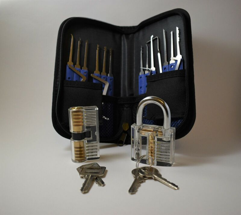 19pc Lock Smith tools with 2 practice locks and picks US Seller