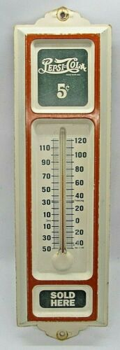 Vintage Pepsi-Cola Thermometer Embossed Tin Double Dot Green Logo