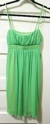 City Triangles BEADED Empire Waist Dress M Medium LIME GREEN SHEER Tie Strap EUC