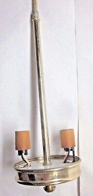 Vintage Lamp Cluster Chandelier Pendant 2 Bulb Polished Shiny Brass Plated Steel