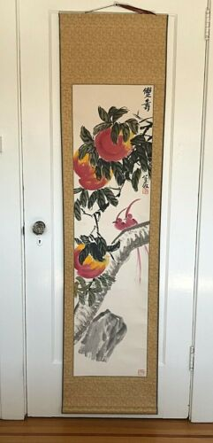 Vintage Chinese watercolor scroll painting peaches birds signed stamped