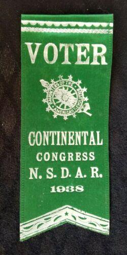 1938 Ribbon Continental Congress National Society Daughters American Revolution