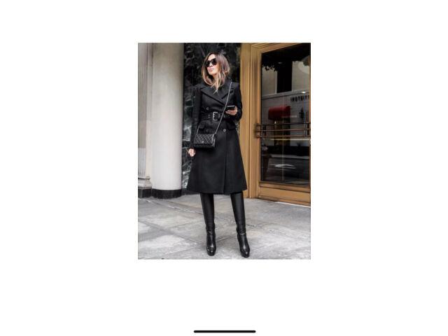 ZARA BLACK WOOL BLEND DOUBLE-BREASTED COAT WITH BELT SIZE XS BNWT