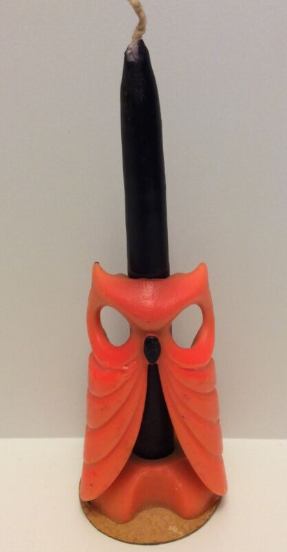 Vintage Gurley Orange And Black Halloween Owl 7.5 Inch