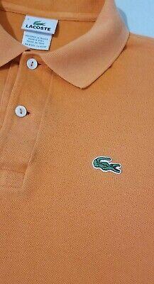Lacoste Mens Orange Short Sleeve Polo Shirt Croc Alligator Size 4