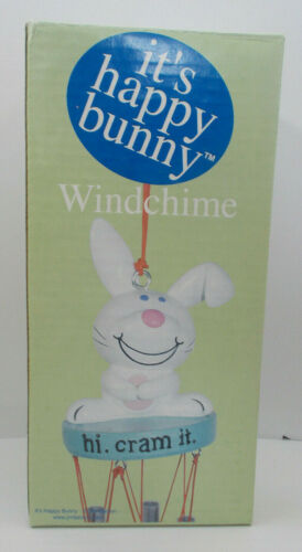 "Happy Bunny Windchime ""hi.  cram it."" 15"" 3D Polyresin Wind Chime Jim Benton NIB"