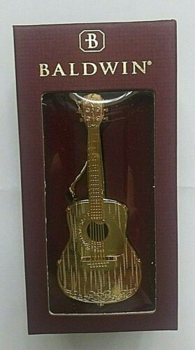 Baldwin brass Acoustic Guitar ornament 24K Gold Finish 2002 with Box