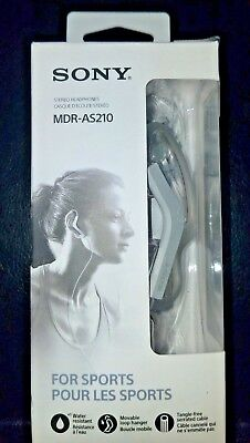 Sports Ear Clip Headphones (Sony MDR-AS210 Sports Headphones Ear Clip Style Water Resistant White  Pre-Owned )