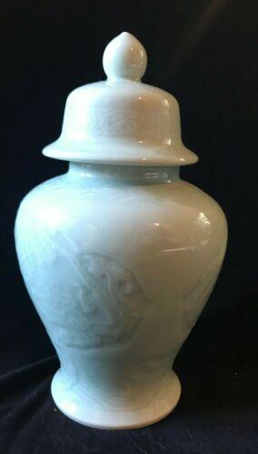 """Vintage Chinese Celadon Glaze Ginger Jar and Lid Dragon Motif 10.5"""""""
