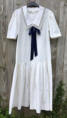 Vintage 1980's Laura Ashley Edwardian Style Drop Waisted Sailor Dress Size 14