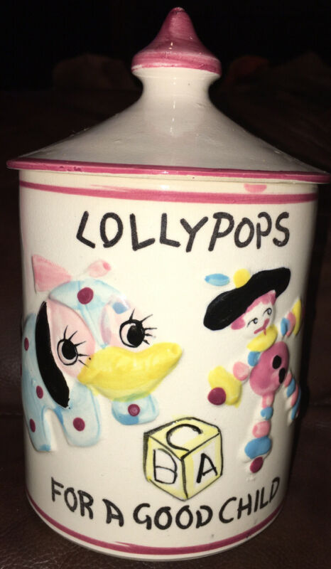 "Vintage Lollypop Jar. ""Lollypops For A Good Child"". Japanese , Porcelain Jar."