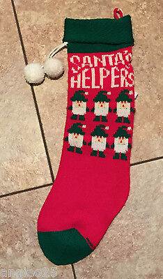 """Vintage Knitted CHRISTMAS STOCKING Red*Green*White """"SANTA'S HELPERS"""""""