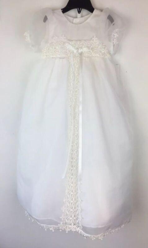 Christening Gown Sz.18 Months Baby Dress NWT Baptism Bonnet White Lace Plus Bib