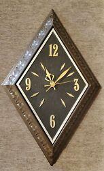 Vintage Sunbeam USA Plastic Wall Clock faux wood 22 diamond shape gold silver
