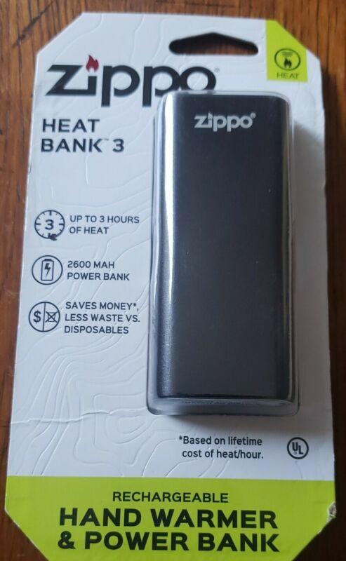 Zippo HeatBank 3 BlackvRechargeable Hand Warmer, 40580 (USB cable included)