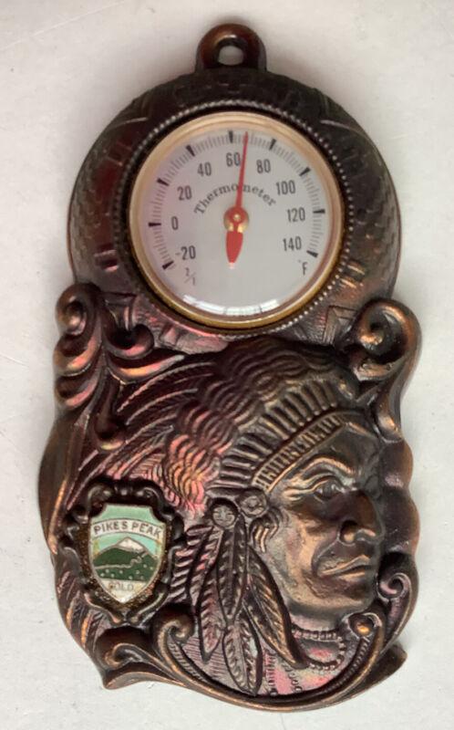 Vintage Souvenir Japan Thermometer Indian Native American Metal Pikes Peak CO