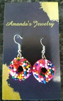 Pink Donuts with Sprinkles Polymer Clay Earrings](Pink Donut With Sprinkles)