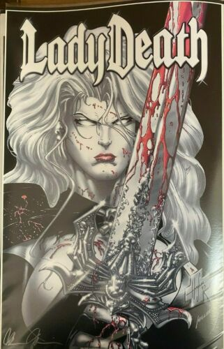 SEXY LADY DEATH WITH GREATSWORD STEPHEN HUGHES SIGNED PRINT 11 x 17 #oa-1226