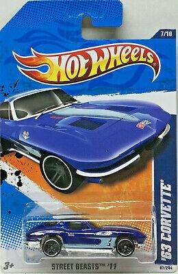 Hot Wheels 2011 Calle Beasts '63 Corvette (Azul) Tarjeta #87 Modelo
