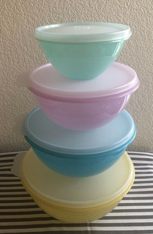 Tupperware Wonderlier Bowls Set Of 4 Pastel Colors Retro Wonderlier Bowls New
