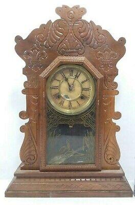 Antique 1870's Waterbury Clock Co. Victorian Walnut Parlor Mantel Clock