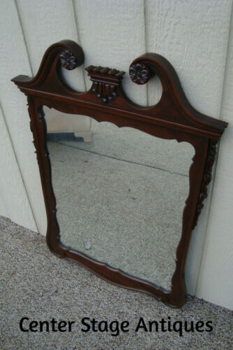 59886 Antique Carved Chippendale  Mahogany Mirror in Fancy Frame