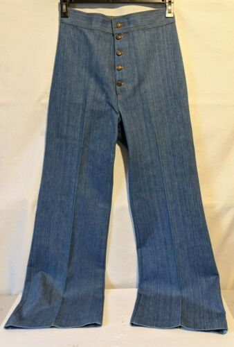 "Womens Vintage 70s Levi Button Fly  Bell Bottom Jeans 29"" Waist"