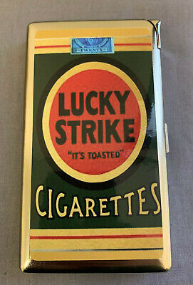 Metal 100's Cigarette Case with Built In Lighter Vintage Lucky Strike Pack Ad