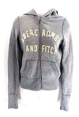 ABERCROMBIE & FITCH Womens Hoodie Jacket S Small Grey Cotton & Polyester