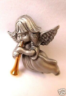 Angel Pin Brooch Pewter Signed Daria Christmas FREE SHIP figural - Daria Costume