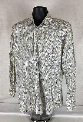 Vintage VERSACE Jeans Abstract Lined Dress Shirt Size M (MISSING BUTTON)