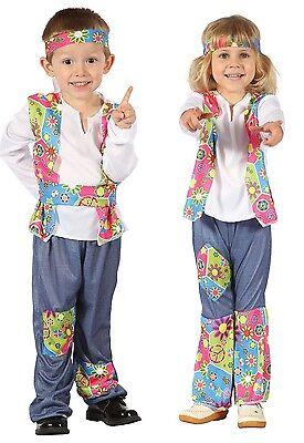 Hippie Kleinkind Kostüme (Jungen Mädchen Kleinkind 1960s Jahre 1970s Hippie Kostüm Kleid Outfit 2-3 J)