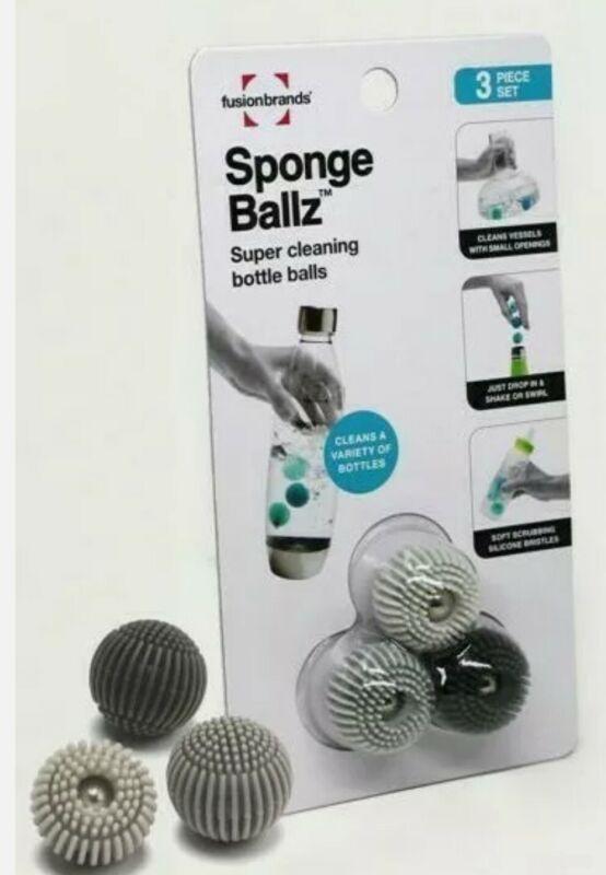 Water Bottle Cleaner Balls - Sponge Ballz, Fusion Brands (Pack of 3) Grey Set