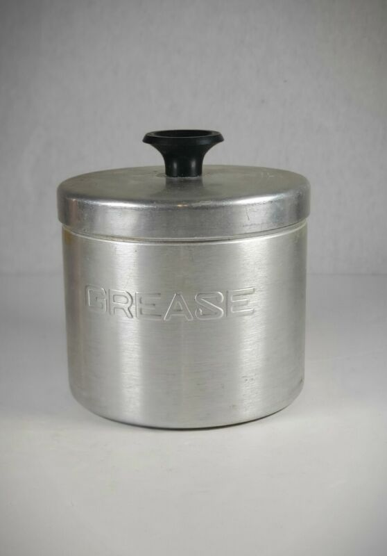 Vintage Aluminum Grease Container Kitchen Jar Canister Black Handle with Lid.
