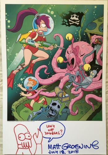 Matt Groening autographed doodled Futurama 2018 Comic-Con SDCC lithograph litho