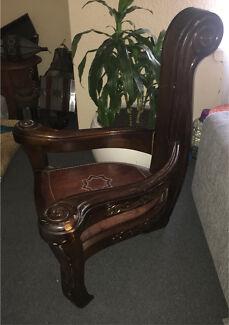 Moroccan wooden armchair