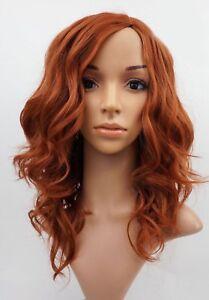 W92 Ladies Wig Light Auburn Ginger Mix Wavy Natural Look Skin Top