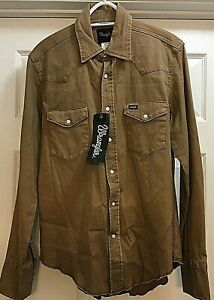 WRANGLER Flannel Button Up Shirt Country Khaki Mid Weight Shirt Small Men's NWT