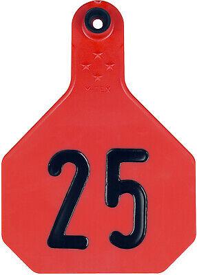 Y-Tex 3 Star Medium Blank Cattle Ear Tags 25 Count Red