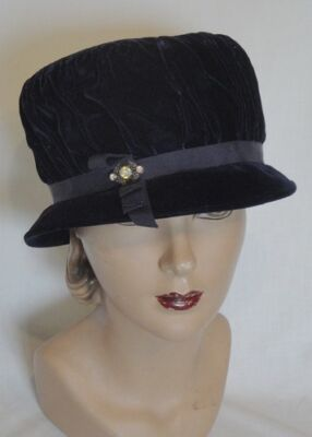 Midnight Blue Velvet Vintage High Crown Hat Rhinestone Decoration
