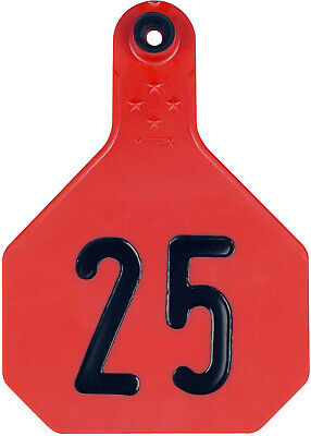 Ytex 4 Star Large Red Cattle Ear Tags Numbered 26-50