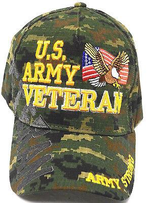 U.S. ARMY VETERAN Cap/Hat w/Flag & Eagle Digital Camo Military*Free Shipping*